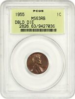 1955/1955 1C PCGS MINT STATE 63 RB OGH - OLD GREEN LABEL HOLDER - LINCOLN CENT
