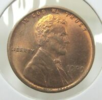 1909 VDB LINCOLN WHEAT COPPER CENT BRIGHT RED UNCIRCULATED T9