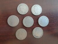 LOT OF 7 LIBERTY NICKELS..EARLY 1900'S
