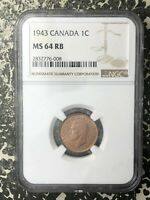 1943 CANADA SMALL CENT NGC MS64 RED BROWN LOTRM25 NICE UNC E