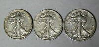LOT OF 3 EXTRA FINE  WALKING LIBERTY HALF DOLLARS 1937 1938 1939 PHILADELPHIA MINT 7220
