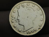 1908 LIBERTY HEAD V NICKEL- VG DETAILS, GOLD PLATED RACKETEER STYLE