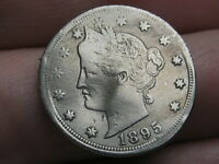 1895 LIBERTY HEAD V NICKEL 5 CENT PIECE- VF/EXTRA FINE  DETAILS