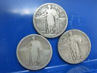 LOT OF 3 SILVER STANDING LIBERTY QUARTERS SLQ 1917 1917-S 1920-S W2-N