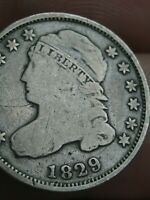 1829 90 SILVER CAPPED BUST DIME- LARGE 10C