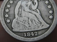 1842 P SEATED LIBERTY DIME- VG/FINE DETAILS