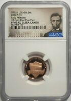 LOT OF 5   2020 S PROOF LINCOLN PENNY NGC PF69 RD ER ULTRA C