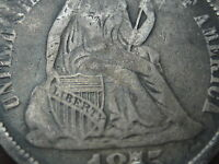 1875 SEATED LIBERTY DIME- VF SHIELD DETAILS