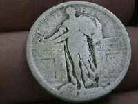 1916 OR 1917 SILVER STANDING LIBERTY QUARTER, TYPE 1,  DIE CUD