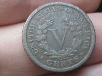 1891 LIBERTY HEAD V NICKEL- VF DETAILS