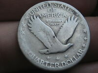 1917 D- 1924 D SILVER STANDING LIBERTY QUARTER, RAISED DATE, TYPE 2