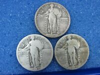 LOT OF 3 SILVER STANDING LIBERTY QUARTERS SLQ 1923 1927-D 1927-S W2-U