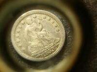 1853 ARROWS EXTRA FINE  SEATED LIBERTY HALF  DIME  RIMS HZX