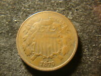 1870 F VF SOLID TWO CENTS COPPER 2 CENTS  TYPE COIN HZX