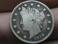 1910 LIBERTY HEAD V NICKEL- FINE/VF DETAILS