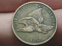 1858 FLYING EAGLE PENNY CENT- SMALL LETTERS, VF/EXTRA FINE  DETAILS