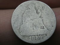 1889 P SEATED LIBERTY SILVER DIME