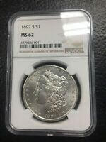 1897 S NGC MINT STATE 62 MORGAN SILVER DOLLAR $1  DATE 1897-S NGC MINT STATE 62  MOSTLY WHITE