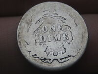 1884 SEATED LIBERTY SILVER DIME- GOOD DETAILS