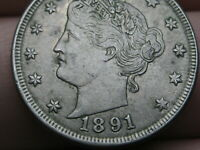 1891 LIBERTY HEAD V NICKEL 5 CENT PIECE- EXTRA FINE /AU DETAILS