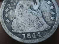 1844 SEATED LIBERTY SILVER DIME-