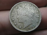 1905 LIBERTY HEAD V NICKEL- FINE/VF DETAILS