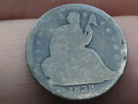 1838 P SEATED LIBERTY HALF DIME- LARGE STARS