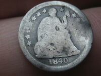 1840 O SEATED LIBERTY HALF DIME, WITH DRAPERY