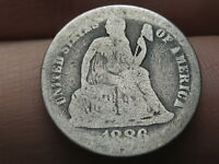 1886 P 90 SILVER SEATED LIBERTY DIME- GOOD DETAILS