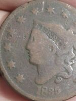 1835 MATRON HEAD LARGE CENT PENNY, LARGE 8 AND STARS, ROTATED REVERSE MINT ERROR