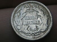 1869 S SEATED LIBERTY HALF DIME- VG/FINE DETAILS