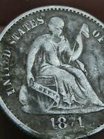 1871 SEATED LIBERTY HALF DIME- FINE/VF OBVERSE DETAILS