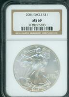 2004 AMERICAN SILVER EAGLE S$1 ASE NGC MINT STATE 69 MINT STATE 69 PREMIUM QUALITY PQ