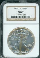 1991 AMERICAN SILVER EAGLE S$1 ASE NGC MINT STATE 69 MINT STATE 69 PREMIUM QUALITY PQ