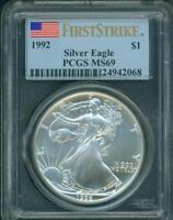 1992 AMERICAN SILVER EAGLE ASE S$1 PCGS MINT STATE 69 MINT STATE 69 FIRST STRIKE FS