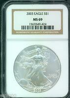 2003 AMERICAN SILVER EAGLE S$1 ASE NGC MINT STATE 69 MINT STATE 69