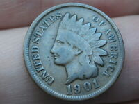 1901 INDIAN HEAD CENT PENNY- VG/FINE DETAILS