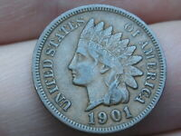 1901 INDIAN HEAD CENT PENNY- EXTRA FINE  DETAILS, DIAMONDS