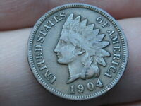 1904 INDIAN HEAD CENT PENNY- VF/EXTRA FINE  DETAILS