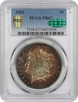 1883 $1 PCGS/CAC PR 67 - MORGAN SILVER DOLLAR - BEAUTIFULLY TONED GEM PROOF