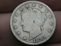 1891 LIBERTY HEAD V NICKEL 5 CENT PIECE- VG DETAILS, FULL RIMS