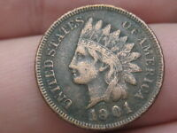 1901 INDIAN HEAD CENT PENNY, VF/EXTRA FINE  DETAILS, LIBERTY SHOWING