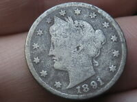 1891 LIBERTY HEAD V NICKEL- GOOD/VG DETAILS, FULL DATE