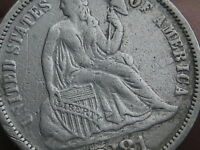 1881 SEATED LIBERTY SILVER DIME- EXTRA FINE  OBVERSE DETAILS