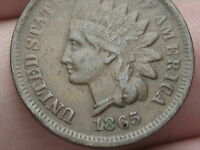 1865 INDIAN HEAD CENT PENNY- FANCY 5, VF/EXTRA FINE  DETAILS, LIBERTY SHOWS