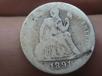 1891 S SEATED LIBERTY SILVER DIME