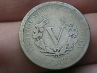 1890 LIBERTY HEAD V NICKEL 5 CENT PIECE, VG DETAILS