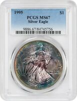 1995 SILVER EAGLE $1 PCGS MINT STATE 67 - AMERICAN EAGLE SILVER DOLLAR ASE