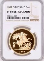 1982 GOLD PROOF FIVE POUNDS 5, 5 SOVEREIGN NGC GRADED PF69 ULTRA CAMEO.