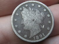 1891 LIBERTY HEAD V NICKEL- FINE DETAILS, FULL RIMS